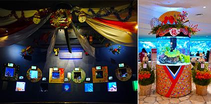 クリスマスやお正月をテーマとした水槽展示